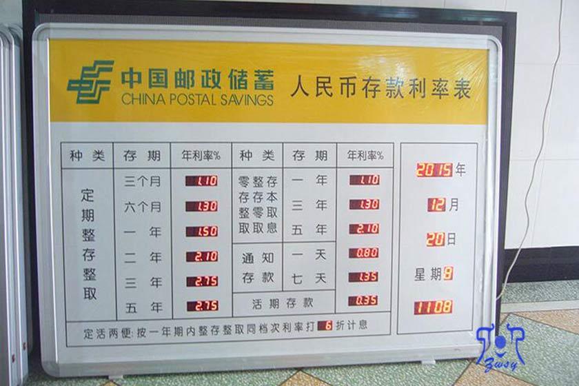 人民币存款利率表 电子汇率屏 利率牌